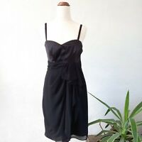 Barkins NWT Party Cocktail Black Dress Gathered Front Womens Size 10