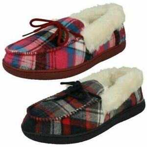 Ladies Cushion Walk Slip On Warm Lined Textile Comfort Full Slippers Mary