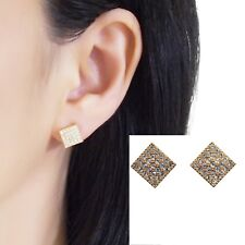 Swarovski Clip On Rhinestone Crystal Pave Gold Square Invisible Stud Earrings