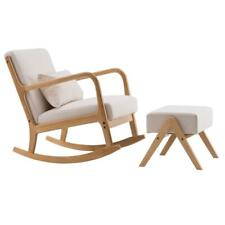 Fabric Rocking Chair with Back Footstool Solid Wood Padded Living Room Seat Us