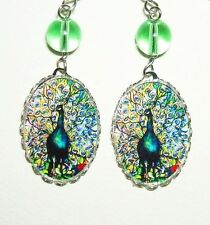 Stained Glass Image PEACOCK Earrings Drop Dangles Silver Plated