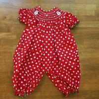 Smocked a Lot Baby Girls Christmas Bubble Romper Santa Holiday Boutique Sz 9 M