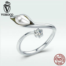 Voroco Elegant Pearl Callas S925 Sterling Silver Wrap Finger Ring New For Women