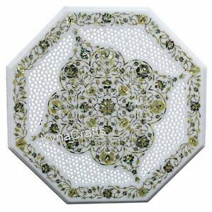 30 Inch White Marble Coffee Table Top Filigree Work Center Table for Home Decor