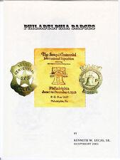 PHILADELPHIA POLICE CHRONOLOGY OF BADGES,  Booklet by LUCAS