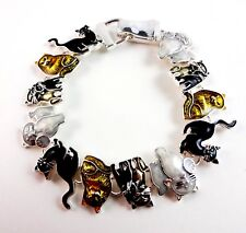 Cat Bracelet Magnetic 7 Inches Black White Gold Kitty Kitten Silver Feline