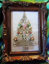 Beautiful Little Gem of a Vintage Jewelry Framed Rhinestone Christmas Tree