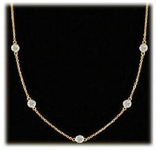2.47 ct Round Diamond By The Yard 18k Yellow Gold Necklace 13 x 0.19 ct each F-G