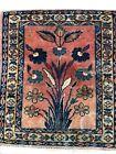 "Fantastic Floral - 1920s Antique Oriental Rug - Handmade Sample 13 .5"" x 15.5"""