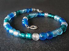 A Sign *Deep Ocean* Trendfarbe Halskette/Kette Murano-Art Glas blau,weiß,türkis