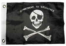 12x18 Jolly Roger Pirate Commitment to Excellence Boat Flag Grommets Raiders