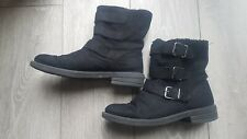 Topshop Black Faux Suede Fur Lined Calf Biker Triple Buckle Boots UK 8 (41)