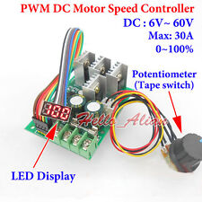 DC 6-60V 12V 24V 36V 48V 30A PWM DC Motor Speed Controller Regulator LED Display