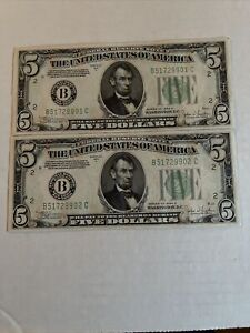 Set Off 2 Consecutive 1934 C  $5 Dollar Bill Green Seal  Federal Reserve