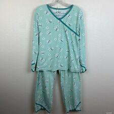 Garnet Hill Asian Wrap Pajama Set Small Green Floral Top Bottom Organic Cotton