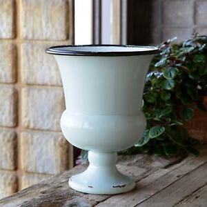 Enamel Metal Urn Planter Vase