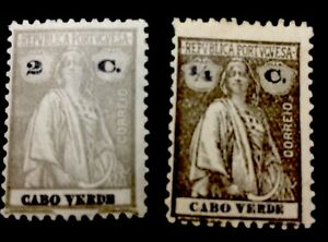 1914 Cabo Verde Stamps. Chalky Paper. Mixed