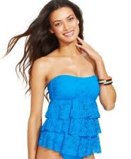 Island Escape Tiered Crocheted Tankini Top Sz 14 Blue (K2)