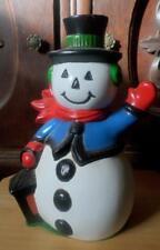 Vintage Ceramic Snowman Figurine Handcrafted & Painted Lantern Waving Snowman