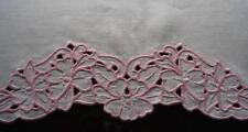 "Vintage Linen Mantle Scarf Runner Pink Cutwork Embroidered Flowers 32"""