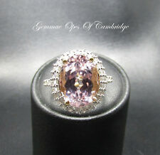 18ct Gold Kunzite and 1ct Diamond Oval Cluster Ring Size O 7.3g 8.27 carats