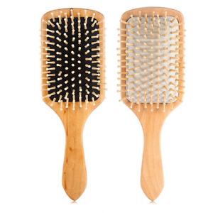 Wood Natural Paddle Brush Wooden Hair Care Spa Massage 1x Large O6O6 N4P5