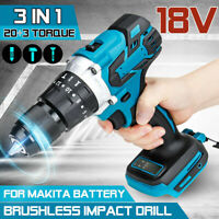 1/2'' Brushless Cordless Impact Hammer Drill Body For 18V Makita Battery DHP484Z