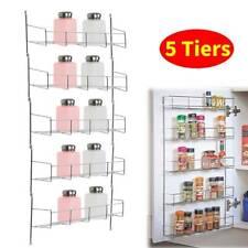 5 Tier Spice Jar Rack Kitchen Cupboard Door Wall Hanger Storage Organiser Holder