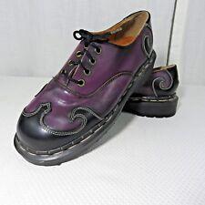 Tredair England Black Purple Creeper Shoes Womens 5 Rockabilly Punk Goth Leather