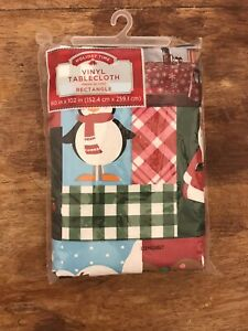 Holiday Time Vinyl Rectangle  Christmas 60inx102 In Red Penguin Santa Nwt