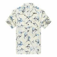 Men Hawaiian Shirt Cruise Tropical Luau Beach Aloha Party Yellow Fish Marlin