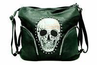 2 in 1 Handtasche Schultertasche Shoppertasche Rucksack Totenkopf Skull Strass