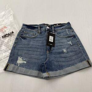 Fashion Nova Fiona Cuffed Denim Shorts - Dark Wash Small