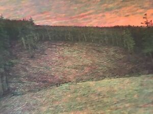 Russell Chatham Original Lithograph Fall Evening At Sunset Signed Early Work