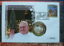 Vaticano NUMISBRIEF/medaglie lettera Papa San Francesco Natale 2014 IN FOLDER