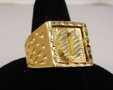 Mens 14Kt Gold Ep Bling Letter O Initial Hip Hop Ring Was $15.95 - Size 9