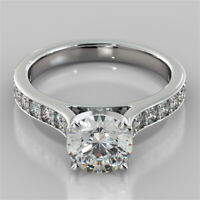 2.32 Ct Round Solitaire Diamond Engagement Ring 14K Solid White Gold Rings +1