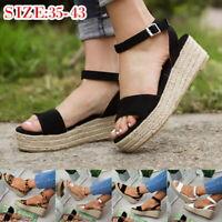 UK Womens Flat Wedge Espadrille Sandals Platform Ankle Strap Summer Shoes NG