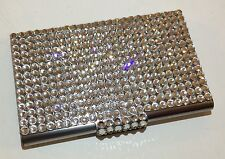 Silver Metal Crystal Business Card Case Holder with Swarovski Crystals