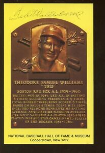 Ted Williams Yellow Hall of Fame Plaque Signed Front & Back JSA LOA