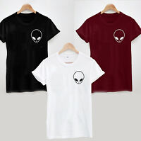 ALIEN Face T Shirt - Pocket Print Style Cool White Black Grey Burgundy