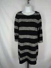 J Crew Factory Dress XS Black Gray Stripe Boatneck Style 02665