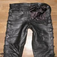 "fette Herren- SCHNÜR- LEDERJEANS / Biker- Lederhose in schwarz ca. W37"" /L32"""