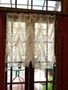 """RARE~Shabby Chic~Floral Lace Balloon Shade Curtain~White~rod pocket~78""""WX82""""L"""
