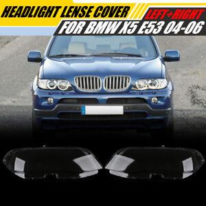 Headlight Shell Headlight Lens Plastic Cover For BMW X5 E53 Right+Left 2004-2006