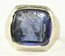 RARE ART DECO ANTIQUE 14K WHITE GOLD BLUE INTAGLIO MENS PINKY RING SIZE 6.75