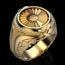 Ring Engagement jewelry Gift Size 9 Men's Vintage style Gold Plated Round punk