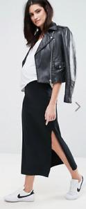 NWT ASOS Mamalicious maternity organic tube maxi skirt Black Slit Large