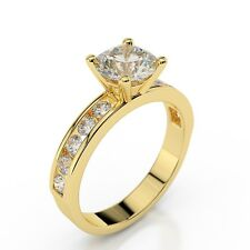 1 CT D VS2 ENHANCED DIAMOND ENGAGEMENT RING ROUND 14K YELLOW GOLD VALENTINE'S