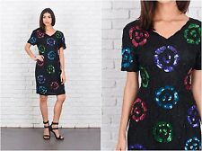 Vintage 80s Black Retro Dress Silk Sequin Beaded Mini Party Cocktail Small S